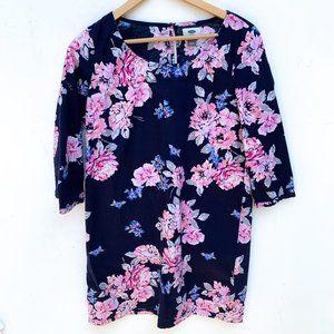 Old Navy Blue Pink Floral Shift Dress